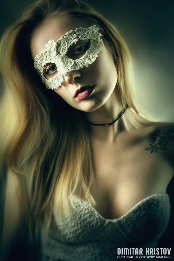 Woman with masquerade carnival mask photography venetian eye mask portraits featured fashion  Photo