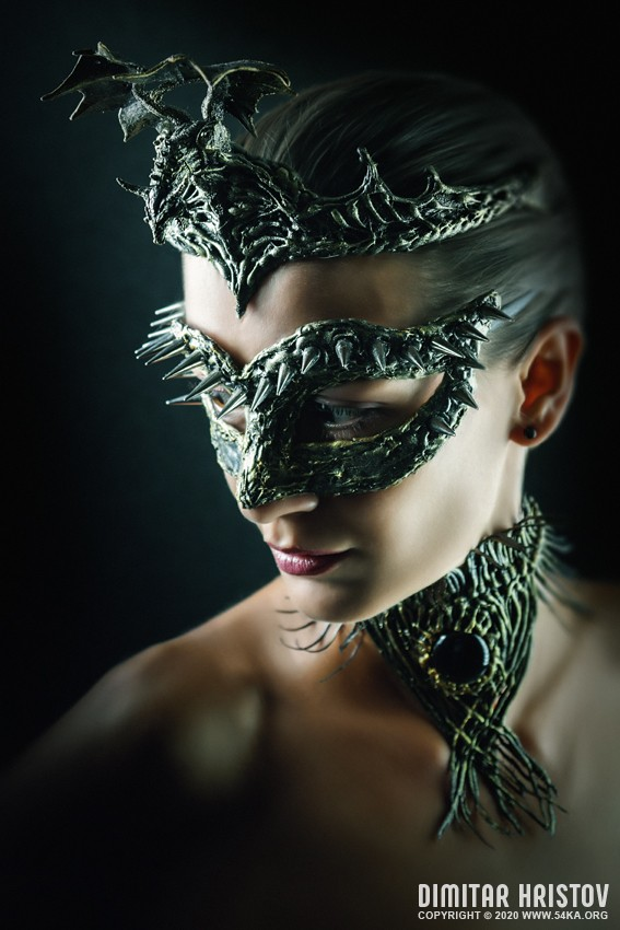 Dragon eye   Girl with mask photography venetian eye mask fashion  Photo