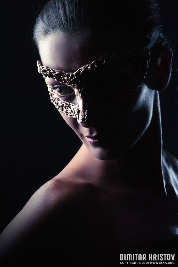 Famous girl with gold carnival mask photography venetian eye mask featured fashion  Photo
