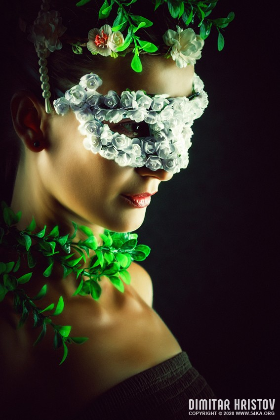 Flower Princess – Woman with masquerade carnival mask photography venetian eye mask featured fashion  Photo