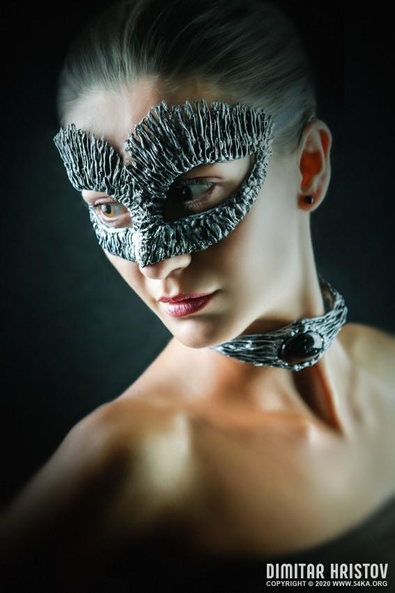 Girl with Dragon mask   Studio fashion portrait photography venetian eye mask fashion  Photo