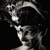 Glamour young woman with Venice mask – Studio portrait