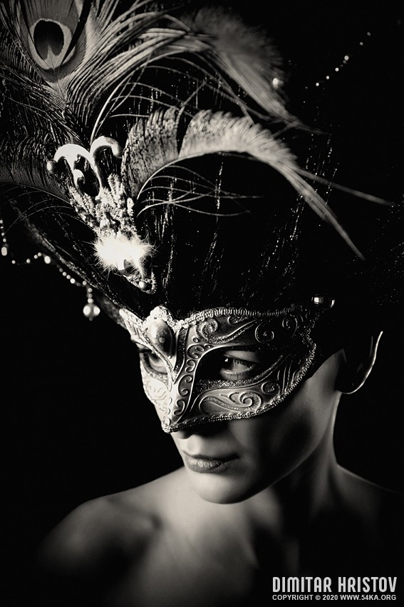 Glamour young woman with Venice mask   Studio portrait photography venetian eye mask featured fashion  Photo