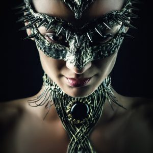 Portrait of a girl with Dragon mask