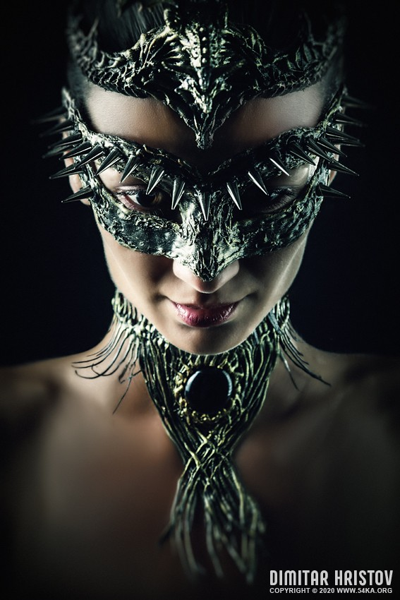 Portrait of a girl with Dragon mask photography venetian eye mask featured fashion  Photo