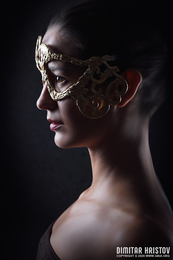 Portrait of attractive sensual young woman with mask photography venetian eye mask fashion  Photo