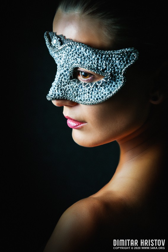 Remarkable portrait of a girl with silver Venice eye mask photography venetian eye mask featured fashion  Photo