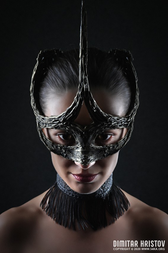 Strobist studio portrait of famous girl with face mask photography venetian eye mask featured fashion  Photo
