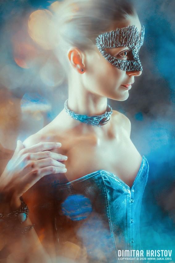 Fashion portrait of young beautiful woman with jewelry photography venetian eye mask photomanipulation featured fashion  Photo