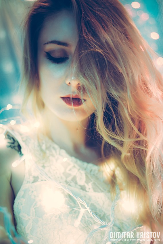 Portrait of a blond beauty with beautiful long hair photography portraits fashion  Photo