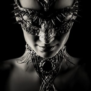 The Dragon mask in black and white