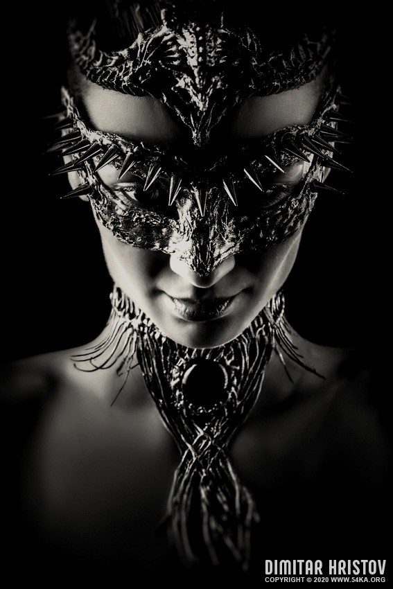 The Dragon mask in black and white photography venetian eye mask featured fashion black and white  Photo