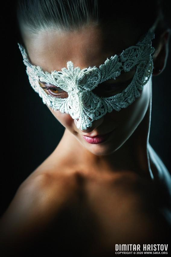 White lace eye mask   Portrait of young stylish woman daily dose  Photo