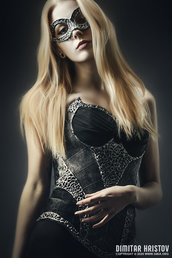 Art Fashion Portrait of Woman Wearing Corset photography venetian eye mask portraits featured fashion  Photo