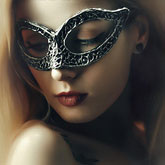 Beautiful Lady with Mysterious Fashion Venetian Mask