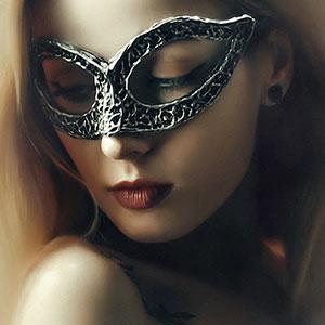 Beautiful Lady with Mysterious Fashion Venetian Mask