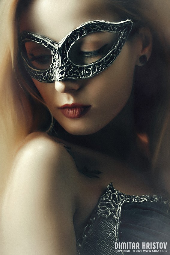 Beautiful Lady with Mysterious Fashion Venetian Mask photography venetian eye mask portraits featured fashion  Photo