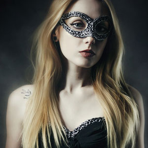 Beautiful Woman in Corset and Wearing Venetian Carnival Mask