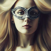 Portrait of a Lady with Fashion Venetian Mask