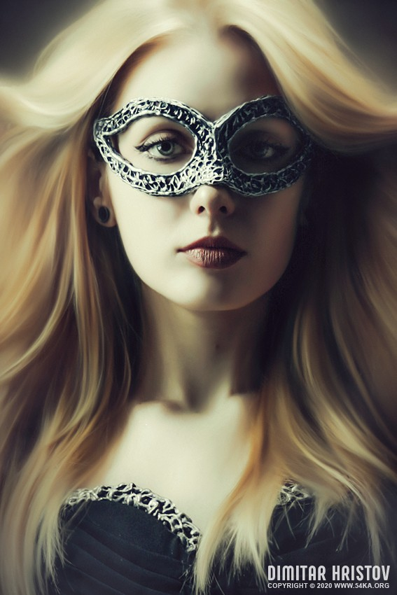 Portrait of a Lady with Fashion Venetian Mask photography venetian eye mask portraits featured fashion  Photo