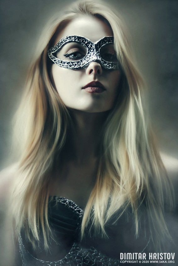 Portrait of Young Woman With Fashion Eye Mask photography venetian eye mask portraits featured fashion  Photo