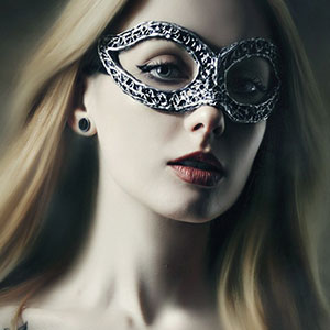 Vampire woman with venetian mask