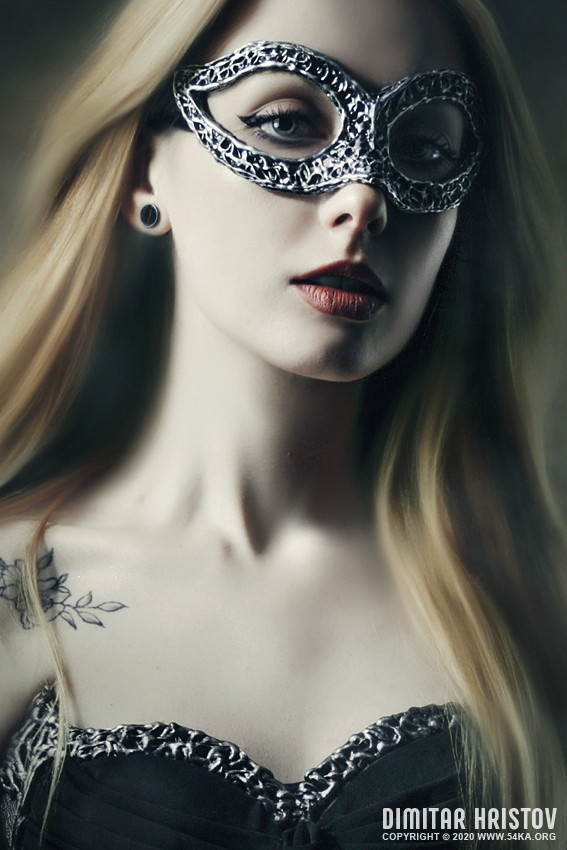 Vampire woman with venetian mask photography venetian eye mask portraits featured fashion  Photo
