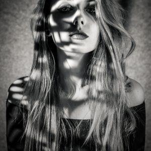 Black and White Girl Fashion Studio Portrait
