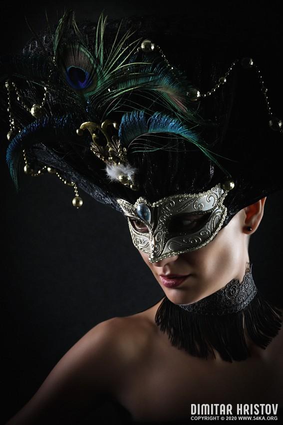 Girl with peacock feathers mask photography venetian eye mask fashion  Photo