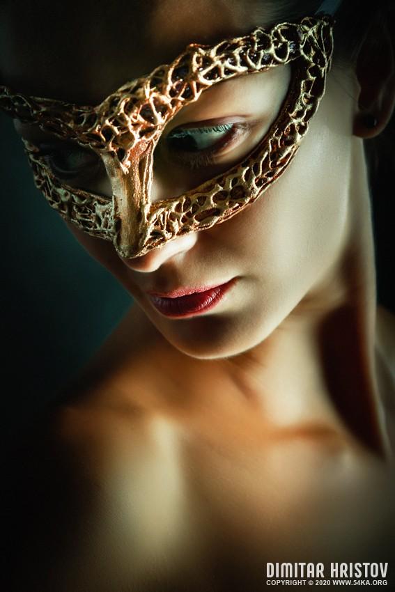 Girl portrait with fairytale mask photography venetian eye mask portraits featured fashion  Photo