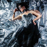 Silver background fashion photography