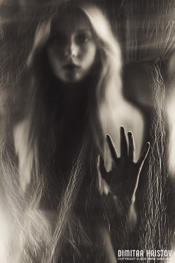 A beautiful pose   Girl and hand covered with transparent nylon   Art photography photography portraits other featured black and white  Photo