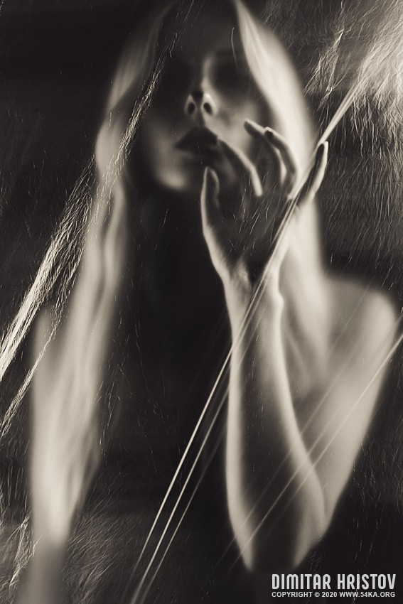 Mystic long hair woman   Dramatic vintage art portrait photography portraits featured black and white  Photo