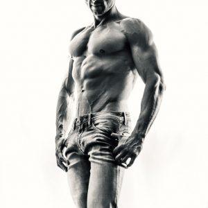 Athletic man strobist portrait