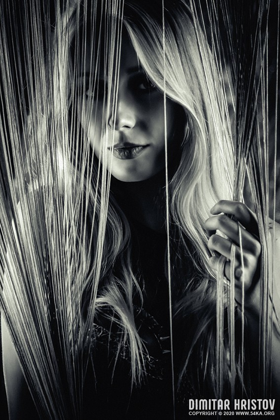 Beautiful Face of Young Blond Woman photography portraits featured fashion black and white  Photo
