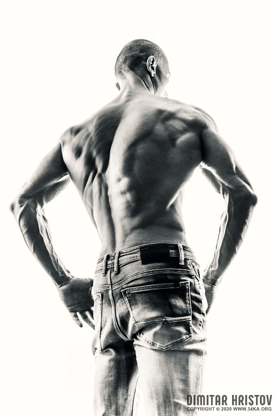 Fitness model   Back muscles photography black and white  Photo