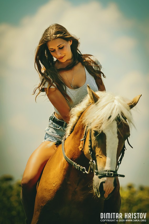 Portrait of woman with horse on meadow photography portraits featured equine photography animals  Photo