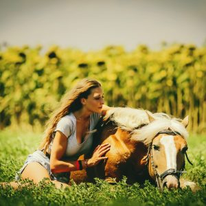 Young girl sitting on the grass caressing her lying horse