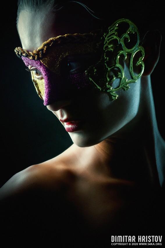 Woman with mask   Strobist portrait photography venetian eye mask portraits fashion daily dose  Photo